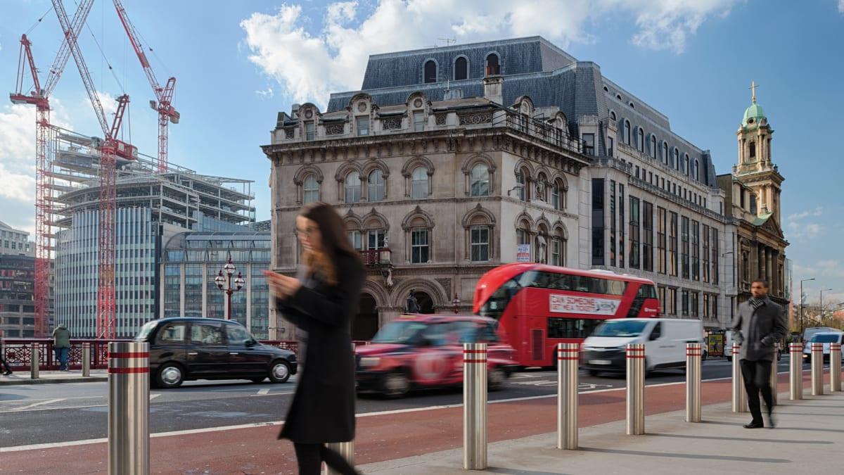 Rhinoguard bollards on a busy London high street.