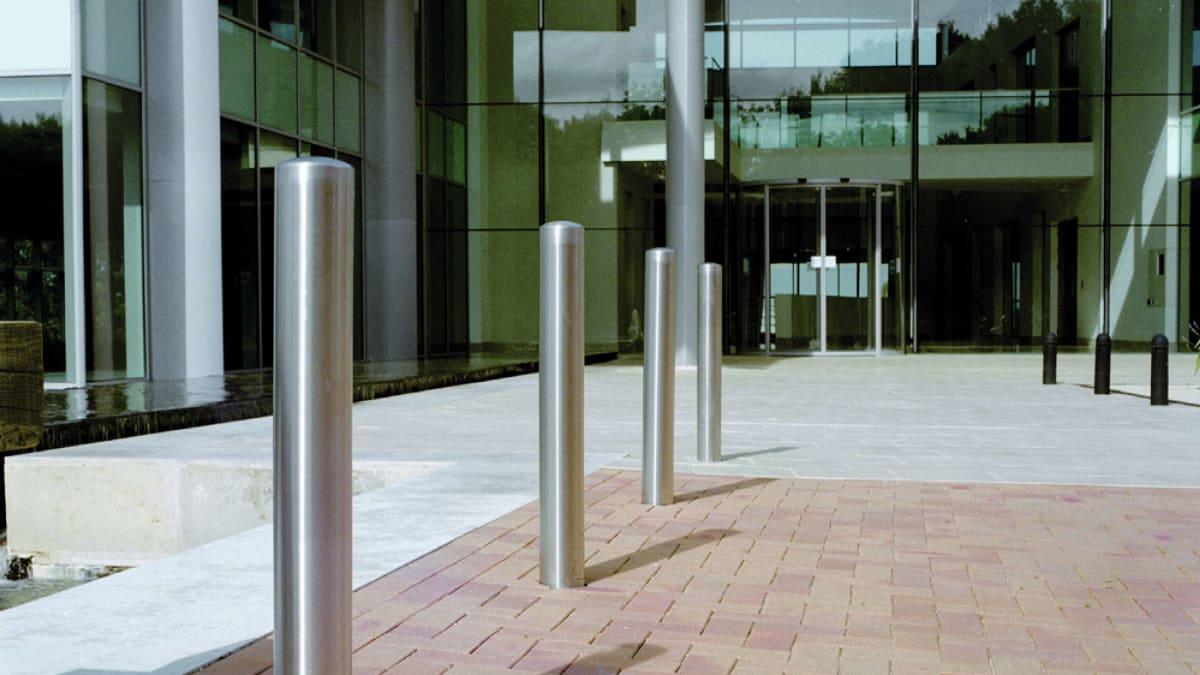 steel bollards outside entrance