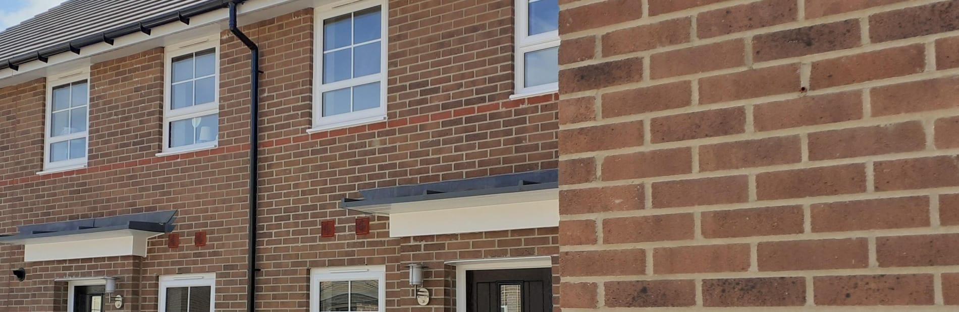 Brown bricks used in a Barratt housing development in Bury St Edmunds
