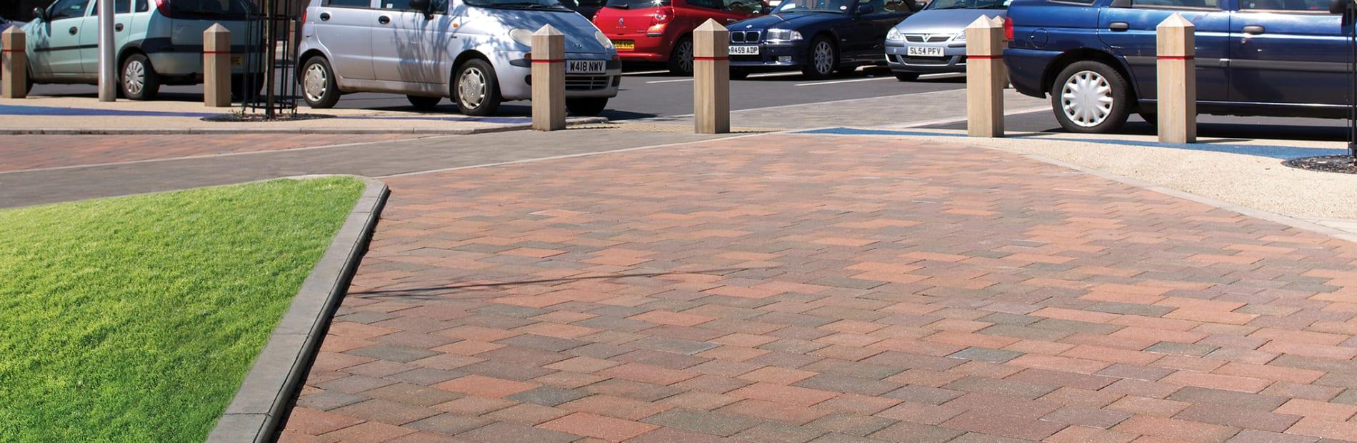 Keyblok red paving outside car park