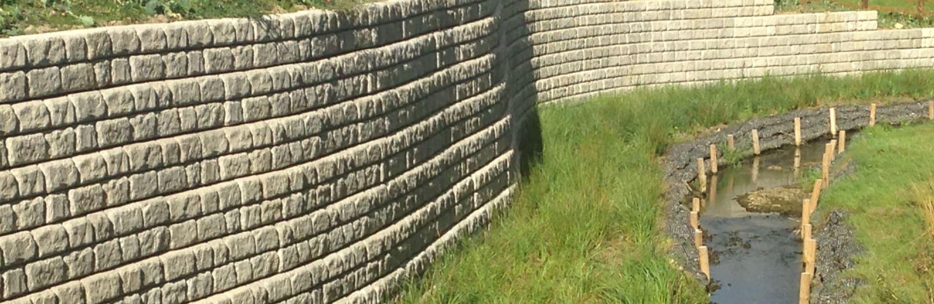 Redi-Rock™ walling used in Woodthrope Notts, by a stream
