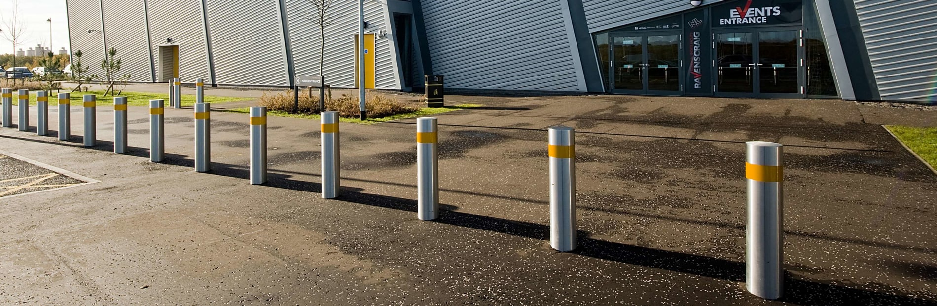 Rhinoguard bollards outside a commercial building