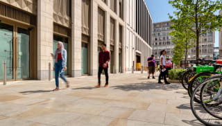 Southbank London Marshalls Scoutmoor Yorkstone paving