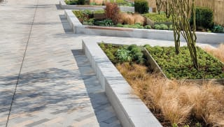 Bespoke seating in front of garden bed and office block.