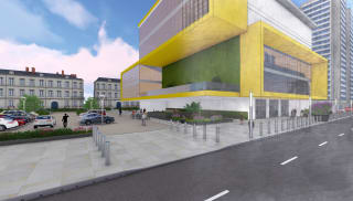 Sketch drawing of yellow building and a car park.