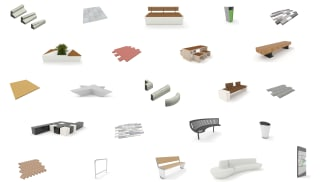 Collection of BIM model seats, paving and litter bins.
