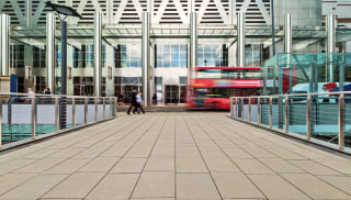 charnwood paving insitu london with a red bus