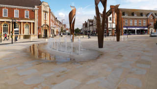 scoutmoor natural stone insitu outside with fountains and statues