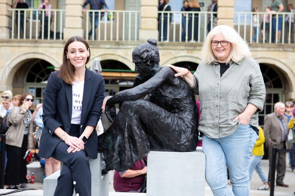 Gentleman Jack actress Suranne Jones and show creator Sally Wainwright unveiled the statue at the Piece Hall