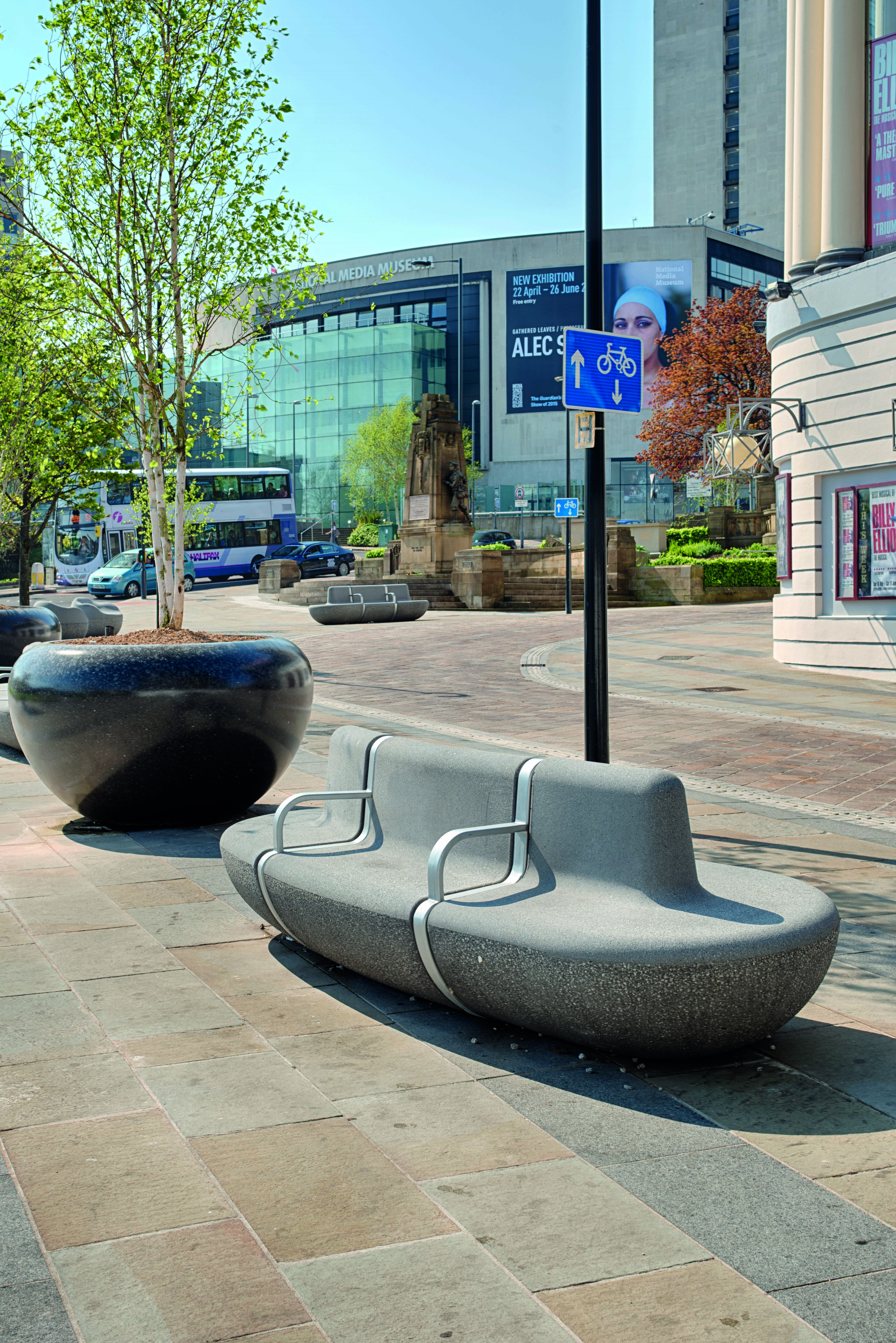 Landscape protection seating in front of the Alhambra theatre