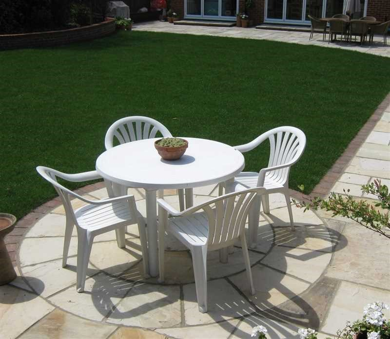 Plastic garden furniture in a patio area