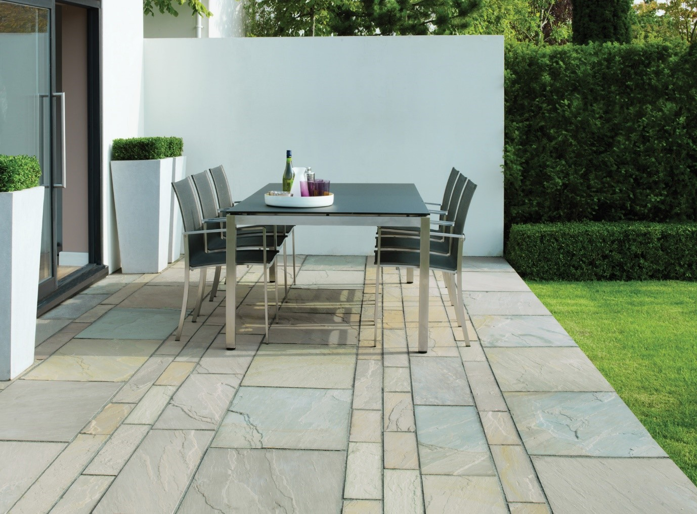 Garden furniture in a patio area