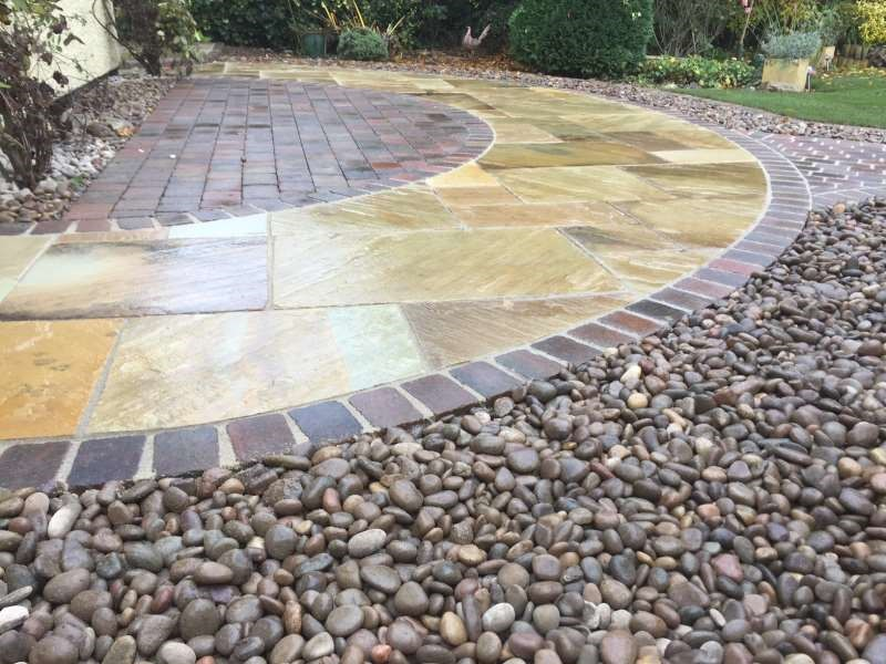 Decorative aggregate used in patio area