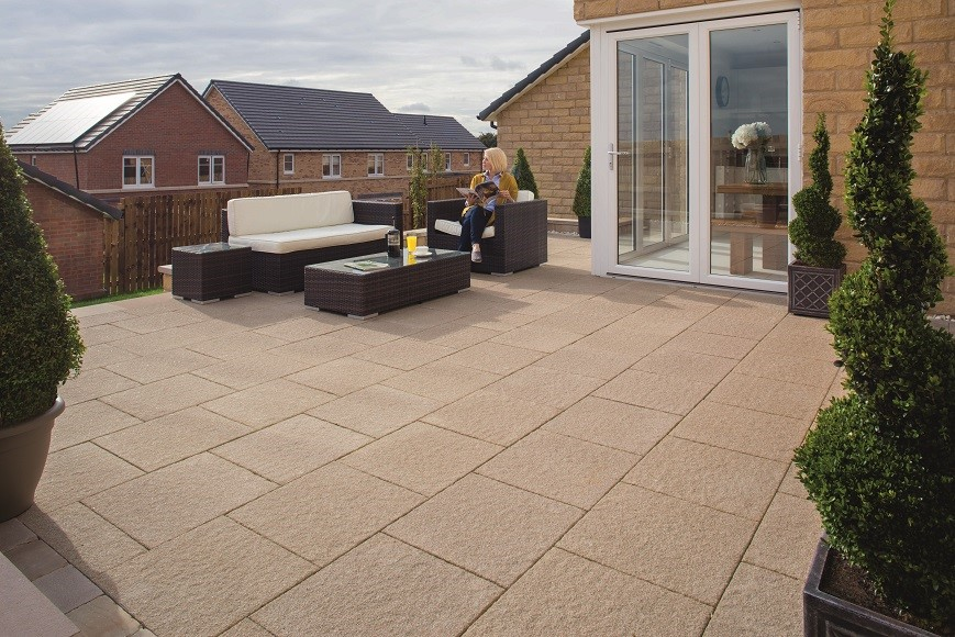 Buff paving used on a garden patio area