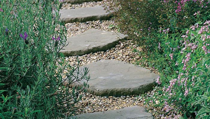 Stone used as stepping stones in a garden