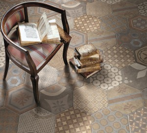 Royal Street hexagonal Décor Tiles 240 x 277mm