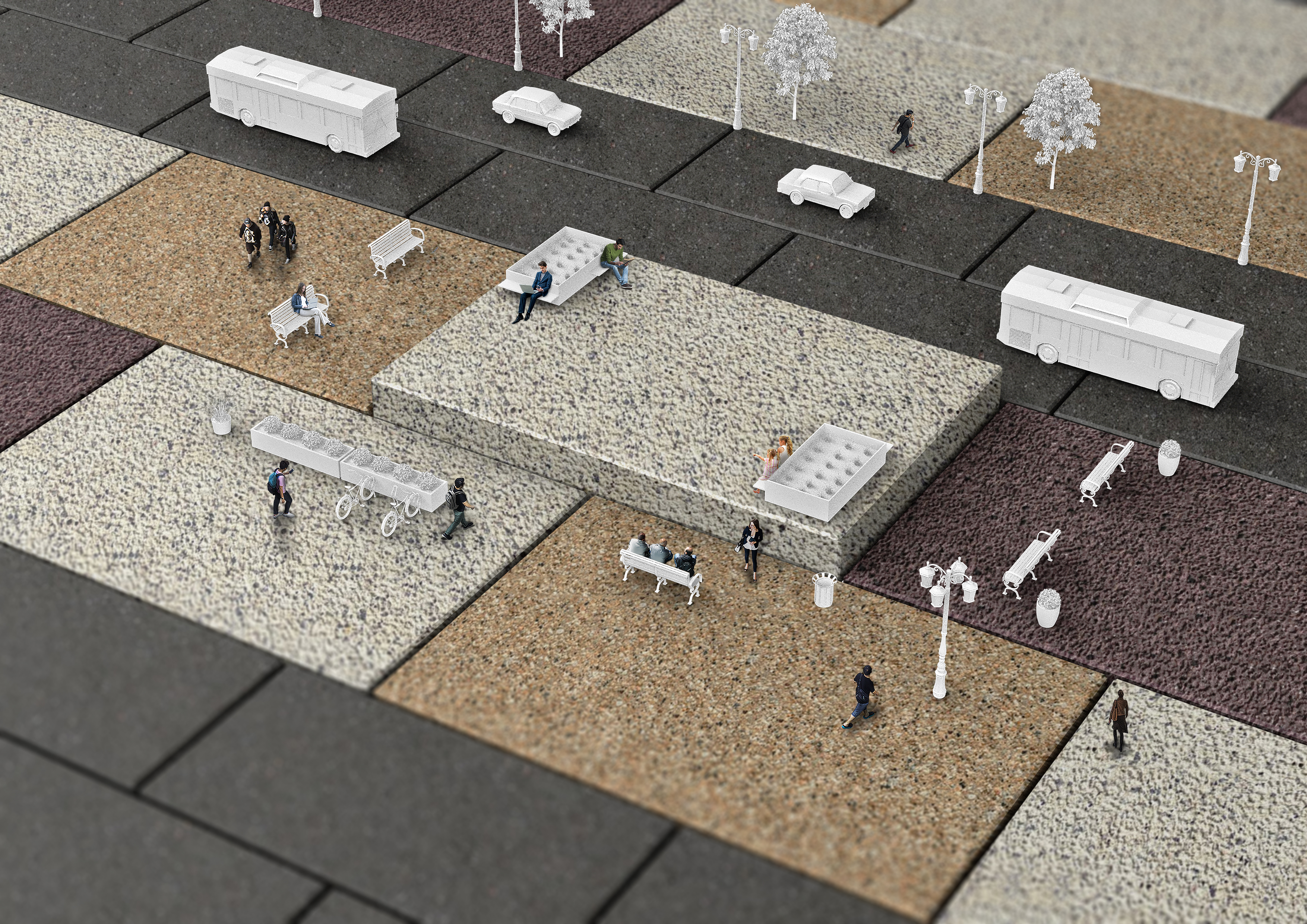 Modal paving is ideal for use in multi-functional public spaces