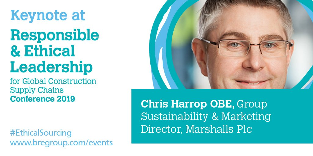 Image promoting BRE Group 2019 conference with Chris Harrop from Marshalls as keynote