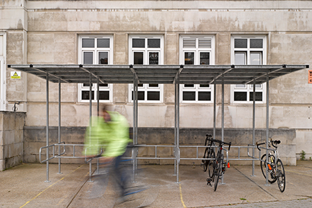 Marshalls cycle shelter in Bankside