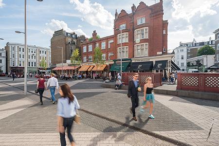 People walking in the high street