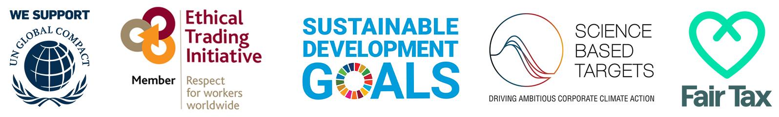 UNGC, ETI, SDG, SBTI and Fair Tax logos
