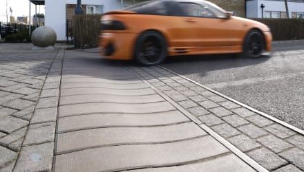 s ramp laid in road