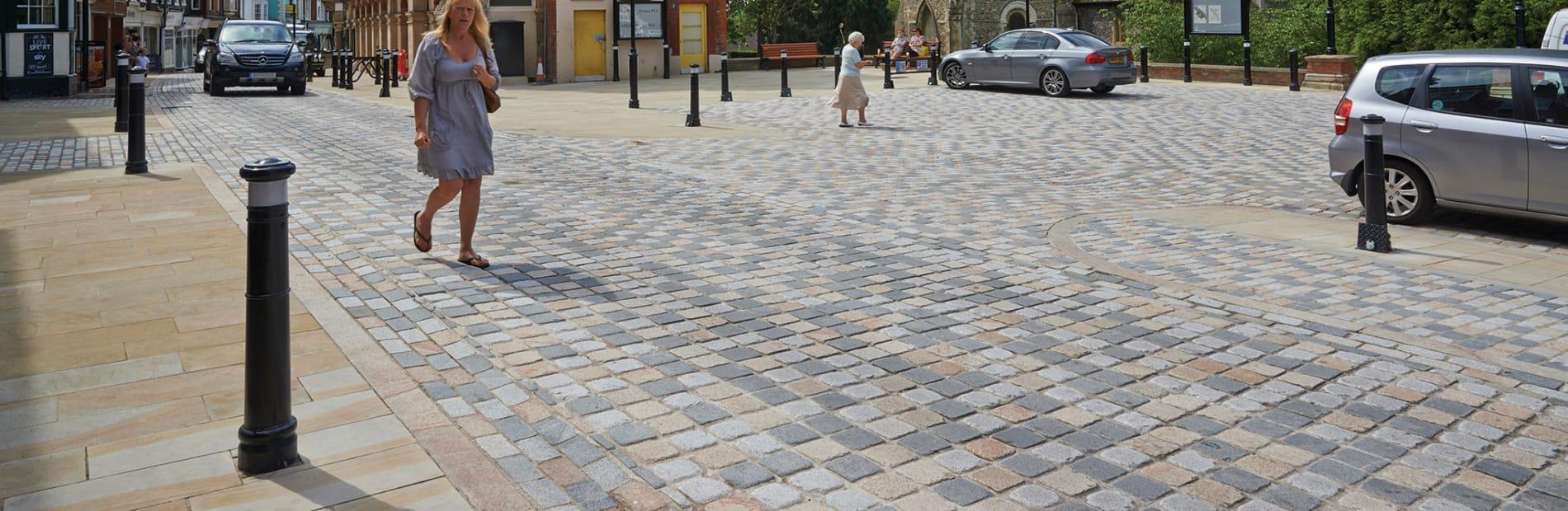 granite cobbles laid in road