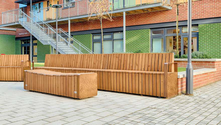 natural elements seating outside a courtyard